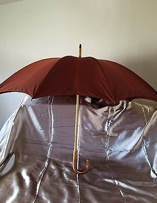 Vintage Umbrella Made In The USA Wood Handle
