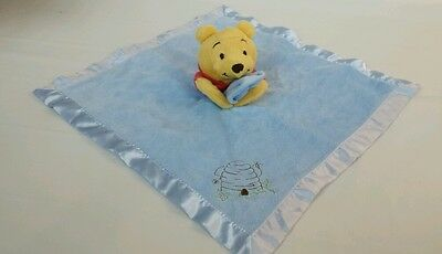 Disney Winnie the Pooh Security Blanket Lovey Blue Baby Bear Bee Hive EUC