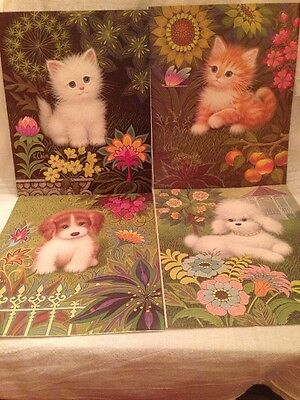 Set of 4 K CHIN Cat Kitten Dog Puppy Flower PRINT POSTER LITHO A K Co retro 8x10