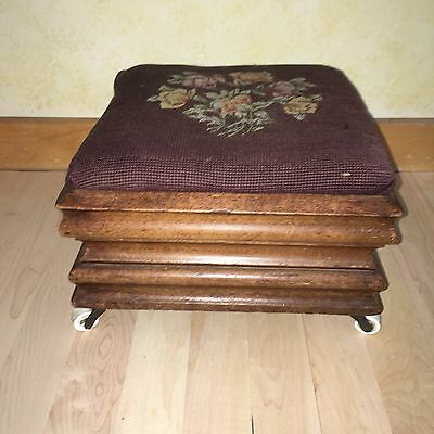 Antique Victorian Era Floral Brown Needlepoint Mahogany Small Square Foot Stool
