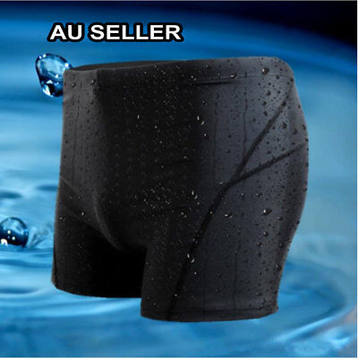 Men's Boy Black Swimming Trunk Pants Swimwear Fast Dry Sharkskin Slim Beach