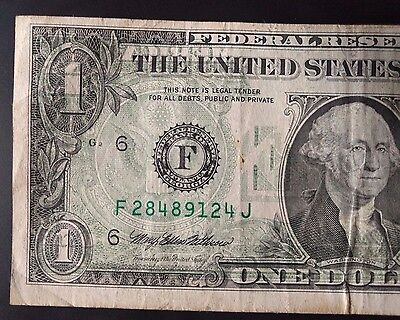 ERROR in $1 BILL - BACK to FRONT OFFSET PRINTING ERROR