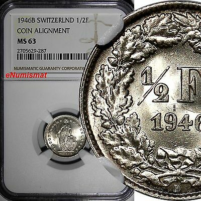 Switzerland Silver 1946-B 1/2 Franc NGC MS63 COIN ALIGNMENT KM# 23