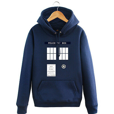 DOCTOR WHO POLICE BOX TARDIS Cosplay hoodie with hat outfit unisex outwear