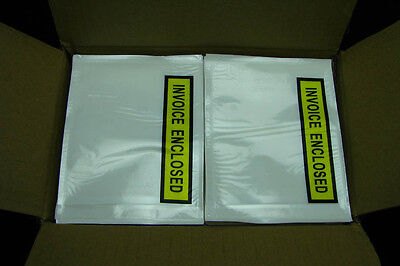 1000x Clear Printed Invoice Enclosed Envelope 115x150mm Document Sticker Pouch
