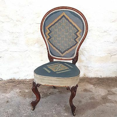 Victorian Rosewood & Tapestry Upholstered Nursing Chair - C1870 (Antique)