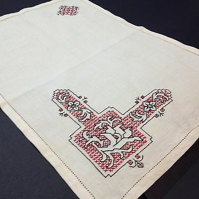 Ecru Placemat / Tray Cloth - Beautifully Cross Stitched/Hand Embroidered 51 x 30