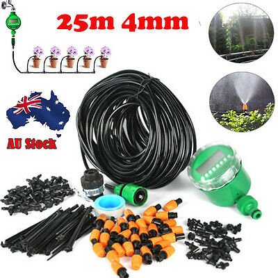 DIY Watering 25m Micro Drip Irrigation System Auto Timer/Manual Self Plant Hose