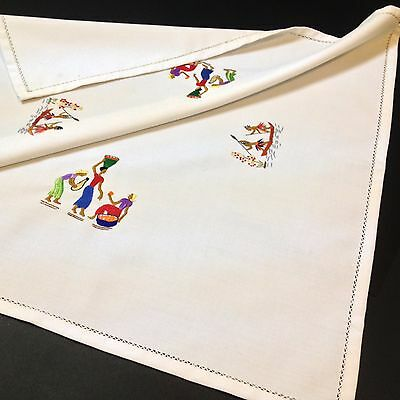 Hand Embroidered Square Tray Cloth / Table Topper - 130 x 130cm - Islander Motif