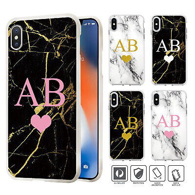 Personalised Initial Marble Cover Case iPhone XS MAX XR X 8 7 SE 6 6S Plus 003
