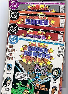 1986 Super Powers #1-4 complete set (DC Comics) all  direct editions *VF+/NM.