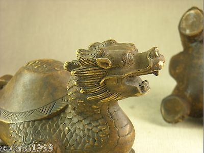 PAIR OF CHINESE DRAGON TURTLE VINTAGE COLLECTION YELLOW YIN YANG SEALED 2lb