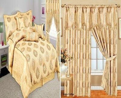 Luxury Ready Made Curtains Pair Fully Lined Pelmet & 7Pcs Bedspread Coffee/Gold
