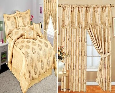 Ready Made Curtains Pair Fully Lined Pelmet 7 Piece Bedspread Comforter Coffee