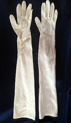 Vintage Ladies White Extra Long Button Formal Gloves
