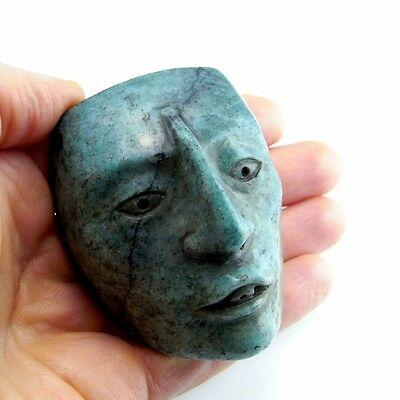 Maya circa 600 AD Hardstone Mask Maskette Pre Columbian Pre-Columbian Carved