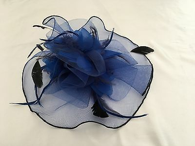 F203 Large Blue Headband Hat Fascinator Weddings Ladies Day Race Royal Ascot