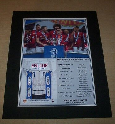 Manchester United - 2017 EFL League Cup Winners Print Mounted To A4