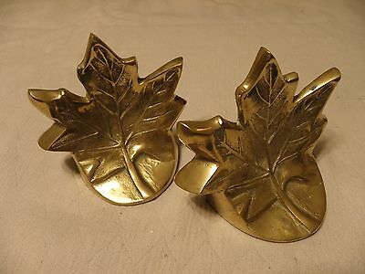 Solid brass maple leaf bookends