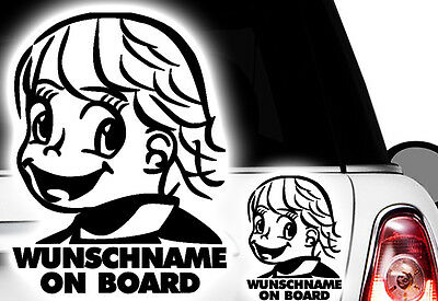 1x Aufkleber WUNSCHNAME ON BOARD Sticker Hangover Baby Auto Kind fährt mit FUNb0