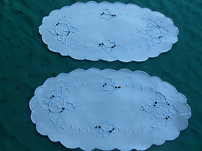 2 Pretty Oval White Linen Doilies With Hand Open Work Blue Embroidery, Circa1920