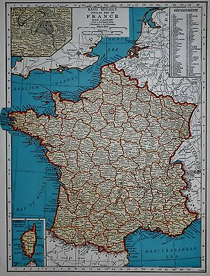 Vintage 1941 Atlas Map World War WWII Era France, Belgium Netherlands Luxembourg