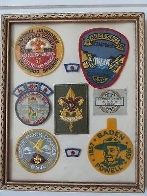 Vintage Boy Scout Patches In Frame 1950's - 1960's