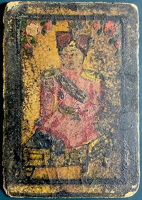c1730 High Rank Officer Artisan Persia Playing Cards Coloured Ancient Single+COA
