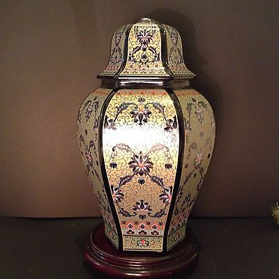 Chinese 30cm Porcelain Ginger Jar-Shaped LAMP BASE - Hexagonal, Without Fittings