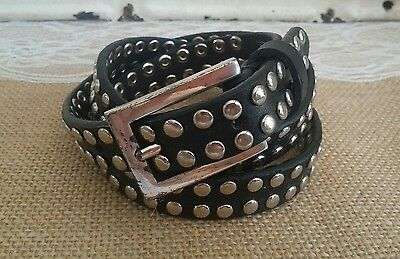 Women's Express Silver Studded Black Leather Belt size M Medium
