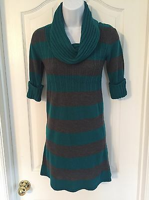 Girls Takeout Grey/Teal 3/4 Sleeve Sweater Top/Dress Sz S
