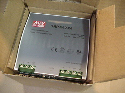 New Nib MW MEAN WELL DRP-240-24 DIN-Rail DC Power Supply 24V 10A 100-240vac in