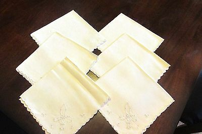 Antique Art Linen Hand Embroidered Napkins Antique White Lot of 6