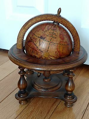 Vintage Old World Spinning Zodiac Globe Nestled In A Wooden Frame ~Made In Italy