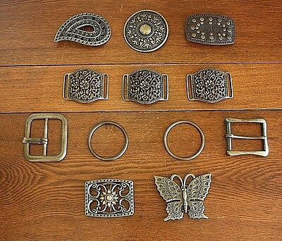 Lot 12 Cast Metal Bronze Finish Vtg Belt Buckles Rings Craft Project Sewing BOHO