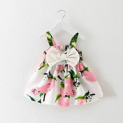 Yellow/Pink Infant Baby Girls Floral Lemon Dress Bowknot Sundress Clothes 0-3Y