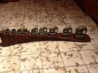 Vintage 9 Solid Brass Elephant Opium Weight Set on Solid Wood Carved Dragon
