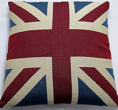"""Union Jack Tapestry Cushion Cover Vintage approx size 18"""" x 18"""" 45 x  45cm"""