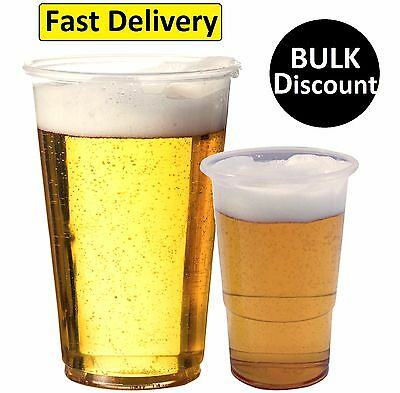 Plastic 1/2 Half Pint Disposable Clear Beer Glasses Cups Tumblers Clear Strong