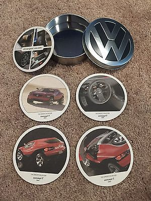 VW Volkswagen Collectible Coasters In Tin Case - concept T 2004