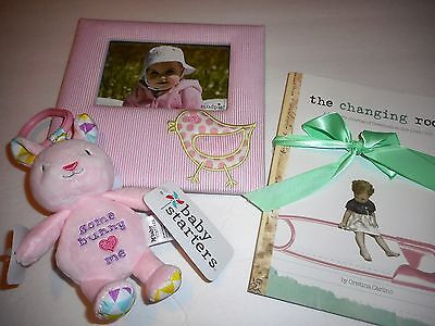 LOT of 3 New Baby Girl Gifts-Mudpie Pink Frame,Bunny Rattle,Changing Room Journa