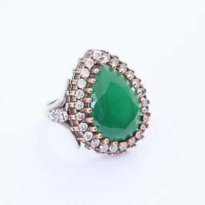 High Quality Hurrem Sultan Turkish 925 Sterling Silver Green Emerald Jade Rings
