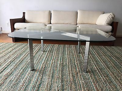 Vintage Chrome/Glass Mid Century Modern Coffee Table - In style of Milo Baughman