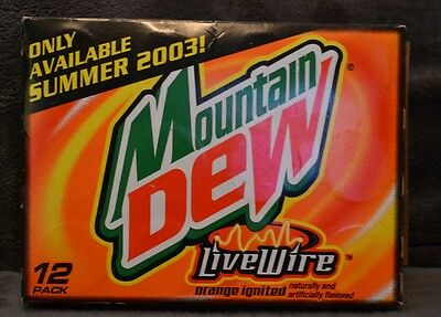 12 Pack Mountain Dew Live Wire Empty Cans with Box 2003