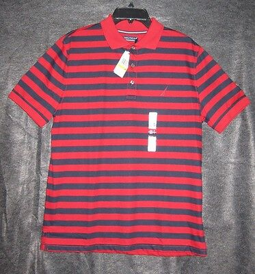 Nautica Men's NWT Short Sleeve collar Polo Shirt Red Blue Stripe Sz M MSRP$69.50