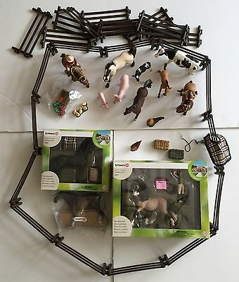 Schleich Farm Animal Lot, Horse, Pig, Cow, Rooster, Fence, Riders