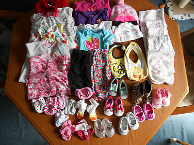 Mixed 36 Lot Newborn Baby Girls Clothes size 0-3 Months Tops~Bottoms~Shoes~1pc.