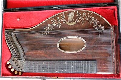 Antique Harp German Custom Made Zither in Original Box Mother of Pearl Inlay