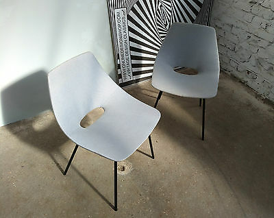 LOT 2x PIERRE GUARICHE TONNEAU CHAIR CHAISE STEINER FRANCE 1950-60s