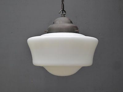 Large Vintage Industrial Antique Opaline Glass Pendant Chapel Light Lamp